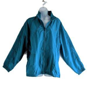Vtg 90s Mens Reebok Teal Blue Windbreaker Jacket L